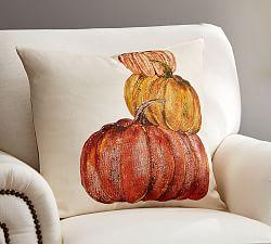 fall pumpkin pillow from pottery barn