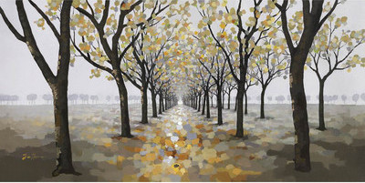 Gray and Gold Tree Painting